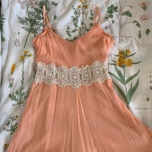 Peach Altar'd State embroidered romper